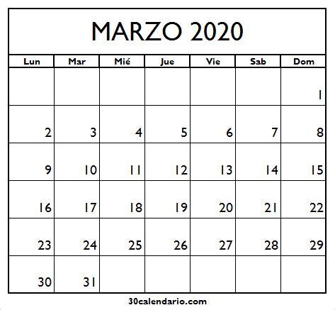 foto de Calendario Marzo 2020 Para Imprimir Con Feriados 2020