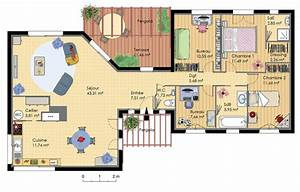 plan maison design plain pied homes design pinterest With plan de maison 120m2 3 vaste villa detail du plan de vaste villa faire
