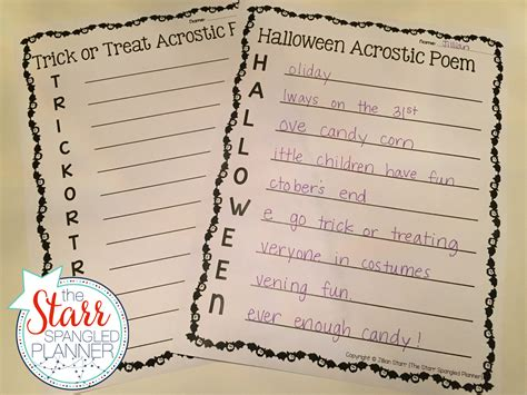 Halloween Acrostic Poem Ideas by 10 Favorite Halloween Centers The Starr Spangled Planner