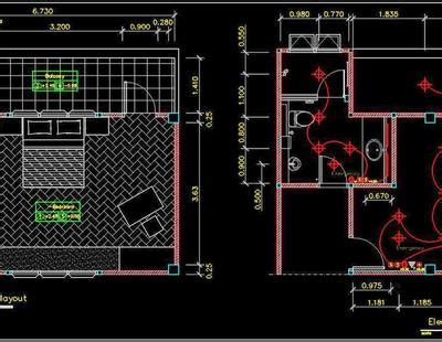 hotel guest room interior  electrical floor plan dwg