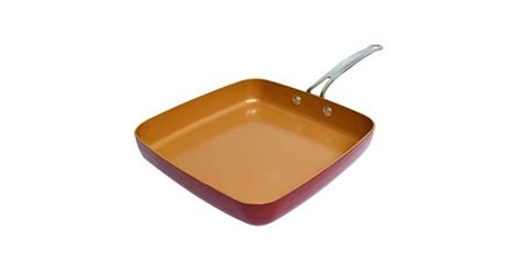 red copper square dance frying pan