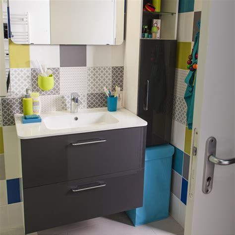 meuble de salle de bains happy gris zingu 233 n 176 1 81x46 cm 2 tiroirs leroy merlin