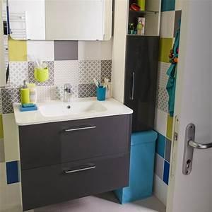 Salle De Bain Le Roy Merlin : meuble de salle de bains happy gris zingu n 1 81x46 cm 2 tiroirs leroy merlin ~ Melissatoandfro.com Idées de Décoration