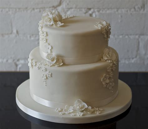 Real Life Rose And Blossom 2 Tier Wedding Cake