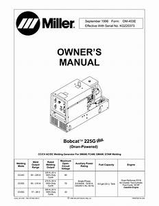 Miller Electric Bobcat 225g Owner S Manual