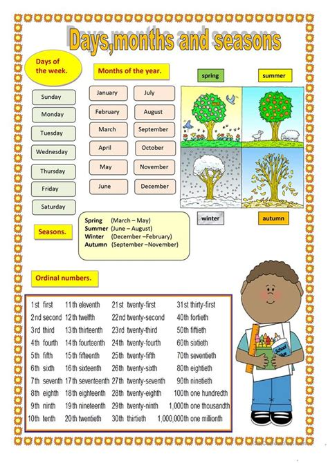 days months  seasons worksheet  esl printable