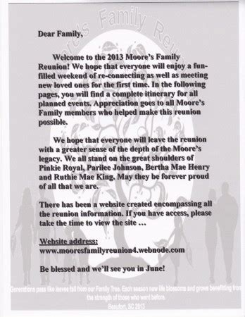 family reunion welcome letter updated welcome letter moores family reunion 2013
