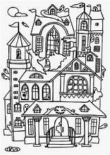 Haunted Coloring Printable Colouring sketch template