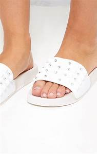 White Studded Sliders  Shoes