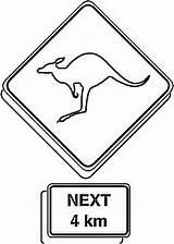 Coloring Road Sign Australia Kangaroo Decoration Play sketch template