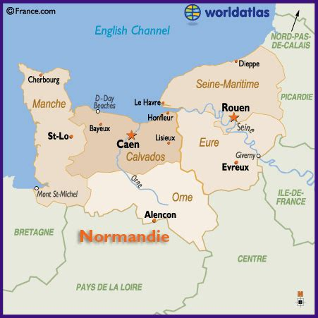 Carte Haute Normandie by Map Of The Basse Normandie And Haute Normandie Region Of