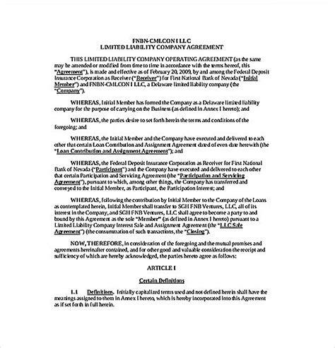 operating agreement template   secure company