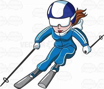 Skier Clipart Female Skiing Slope Alpine Skis