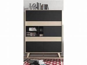 meuble tv zaiken gris anthracite chene With meuble zaiken