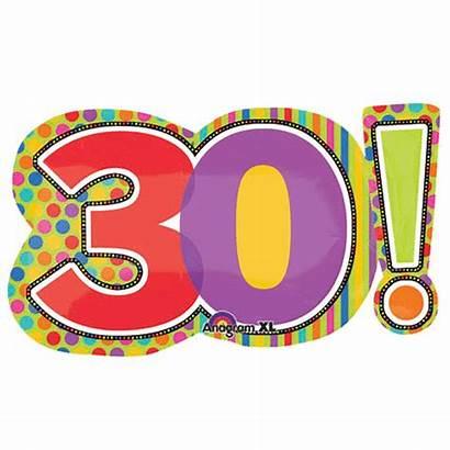 30th Birthday Clipart Balloon Foil Dots Stripes