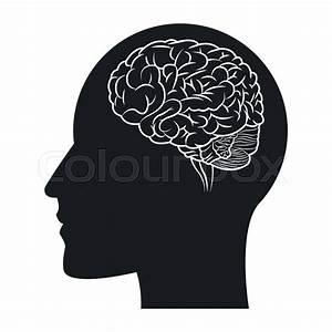 Flat design human brain within head silhouette icon vector ...