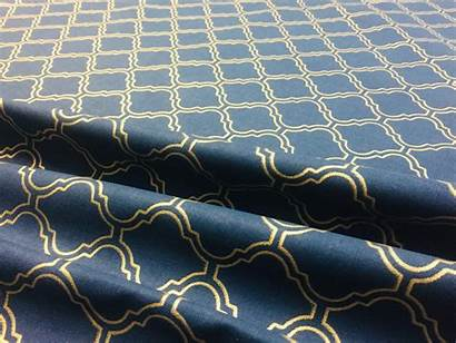 Fabric Navy Gold Moroccan Material Upholstery Damask