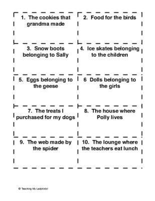 possessive pronouns worksheet  grade  answers