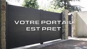 Portail Electrique Battant : montage d 39 un portail battant alu line youtube ~ Melissatoandfro.com Idées de Décoration