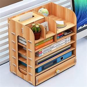 7, Layers, Desk, Organizer, Desktop, Storage, Container, Office, Wooden, Large, Capacity, Storage, Organizer