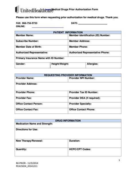 top 16 united healthcare prior authorization form
