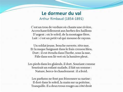 Le Dormeur Du Val Arthur Rimbaud by Fran 231 Ais 8 Madame Lisette Valotaire 201 Cole Du Carrefour Ppt