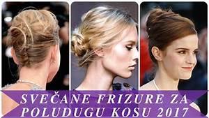 Svečane frizure za poludugu kosu 2017 - YouTube