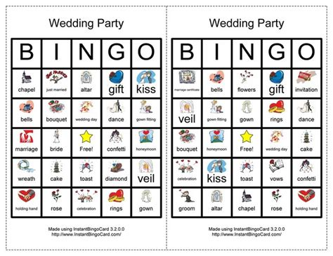 Wedding Party Bingo Cards, 1st Edition (us Word And