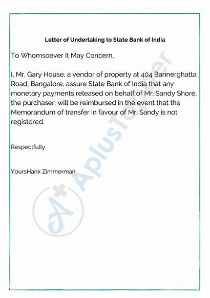 Undertaking Letter Sample India Bank State Write