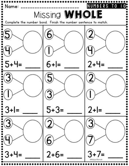 kindergarten number bond worksheets that address students