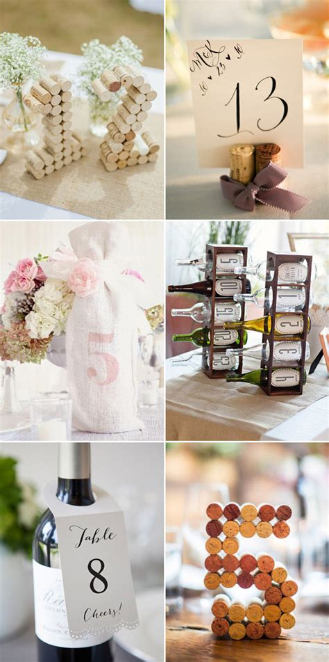 vintage wine and winer corks wedding table numbers deer