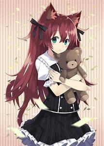 neko girl with teddy bear | anime | Pinterest | Girls ...