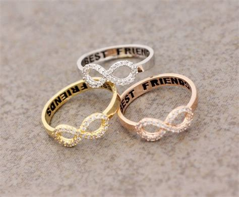 Friendship Rings For 3 Best Friend Infinity Ring Cubic Zirconia Setting In By
