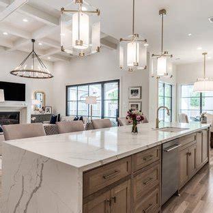 popular kitchen  medium tone wood cabinets  quartz countertops design ideas