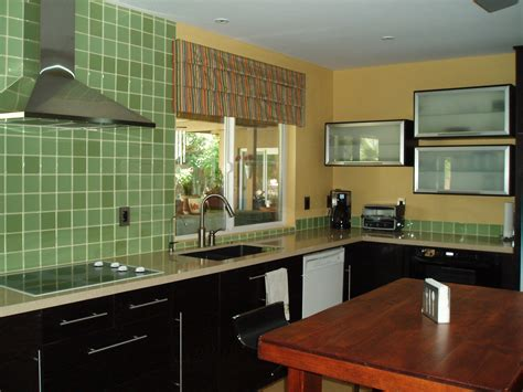 wonderful black finished kitchen cabinet with green tile