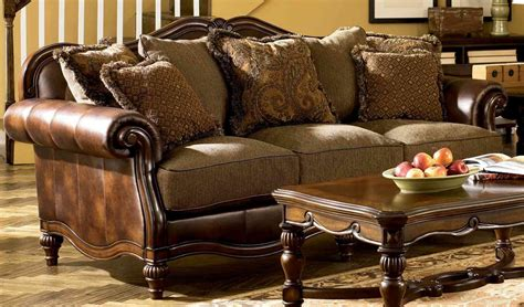 Ashley Claremore Living Room Set 2pcs In Antique Faux