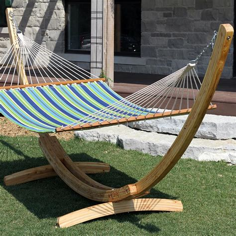 Hammock For by Vivere Solid Pine Wood Arc Hammock Stand 15