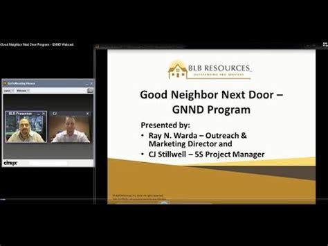 next door program next door program gnnd webcast blb