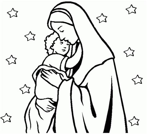 disegni madonna con bambino da colorare madonna con bambino e stelle disegno da colorare gratis
