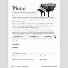 Piano Facts  Worksheet Educationcom