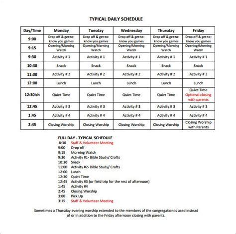 camp schedule templates    premium