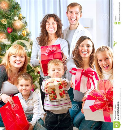 christmas gifts for large families big family with gifts royalty free stock photography image 27989417