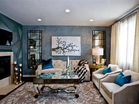 blue art deco living room  mirrored coffee table hgtv