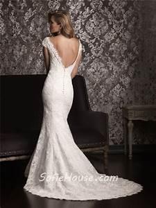 Mermaid Off The Shoulder Cap Sleeve Lace Wedding Dress ...