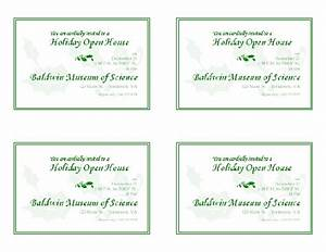 holiday open house invitation 4 per page office templates With wedding invitation template 4 per page