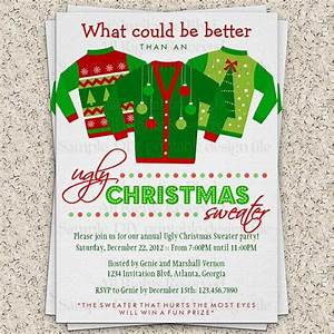 Ugly christmas sweater party invitation ugly by for Ugly sweater christmas party invitations template