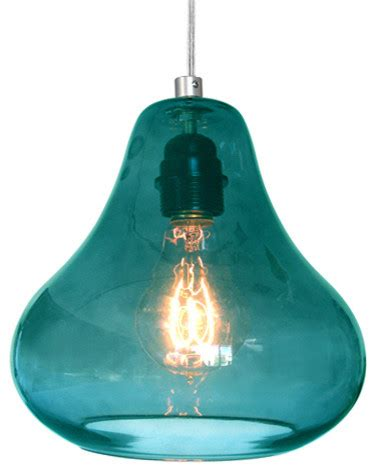 pendant l in aqua turquoise glass by luxello led