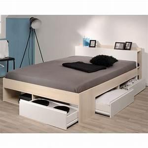 But Lit 160x200 : cadre de lit tiroirs t te de lit 160 200 acacia blanc genius ~ Teatrodelosmanantiales.com Idées de Décoration