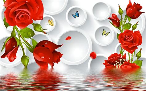 3d tv backdrop roses circle water stereoscopic 3d