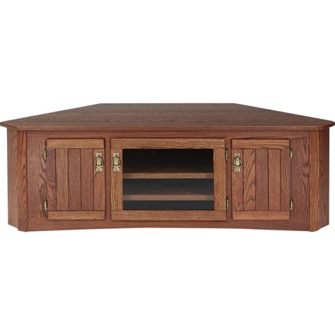 solid oak mission style corner tv stand w cabinet 55 quot the oak furniture shop
